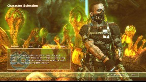 Окно выбора персонажа на фоне идеально кислотных тонов. Только самые отчаянные игроки смогут дойти до запуска первой миссии.